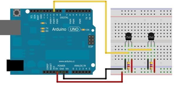 DS18B20 - 2 sensores